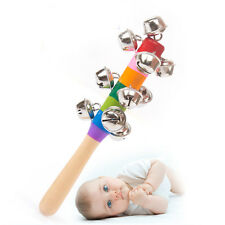 Baby Kid Rainbow Pram Crib Handle Wooden Bell Stick Shaker Rattle Toy For Gift