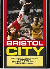 Football Programme BRISTOL CITY v SWINDON TOWN Aug 1987 Littlewoods Cup