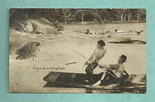 1910 POSTCARD - CANADIAN FANTASY ANGLING / FISHING HUGE FISH & ANGLERS