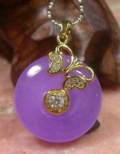 Gold Plate CHINESE Icy Lavender JADE Pendant Circle Diamond (Imitation) 263326