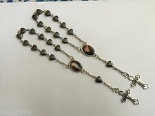 Divine Mercy Rosary for Car – Heart Shaped Hematite beads -Lot of two (2) - NEW