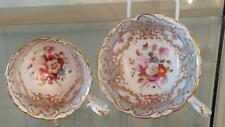 Exquisite Regency Coalport Rococo Hand Painted Tea and Coffee Cups  C 1830