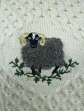 Aran Cable Jumper with Sheep in 100% British Wool XL EXCELLENT CONDITION