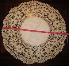 """29"""" Vtg Antique Handmade Crocheted Lace Doily Table Scarf Ivory Antique Linens"""