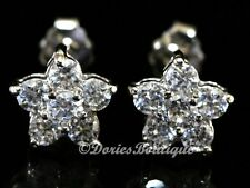 Sparkling Clear Sakura Flower CZ 925 Sterling Silver Stud Earring .925 Jewelry