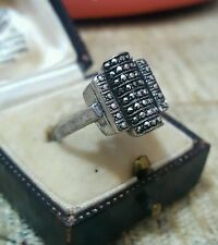 VINTAGE SOLID SILVER RING WITH MARCASITE, SUPERB FRENCH BAROQUE, SIZE P