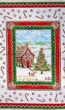 """24"""" Fabric PANEL - Windham Gingerbread House & Candy Red Green Wallhanging"""