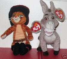 Ty Beanie Baby Set ~ PUSS IN BOOTS & DONKEY from SHREK ~ DVD Exclusives ~ MWMT'S