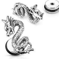 New 316L Stainless Steel Tribal Dragon Fake/Cheater Plugs/Earrings-16GA(PSFX671)