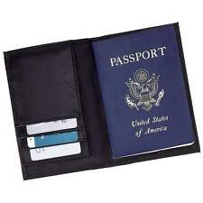 NEW Black Leather Embossed US PASSPORT COVER Organizer Travel Wallet ID LULPASS