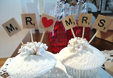 Wooden Scrabble Letters MR heart MRS Cup Cake Wedding Cake Topper Party DIY