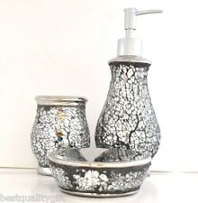 NEW SILVER GLASS,MIRROR MOSAIC BATHROOM SOAP DISPENSER+DISH+TOOTHBRUSH HOLDER