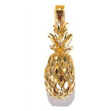 14K Solid Yellow Gold 3D Pineapple Pendant. Width: 6.5 mm Length: 18 mm C291-40