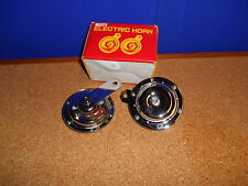 H-L MOTORCYCLE 12V TWIN HORNS 90MM O-D, WITH MOUNTING BRACKETS PAIR BC20069 T