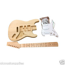 Coban DIY Electric ST Guitar Kit Bolt on Neck Solid Ash Body White fitting