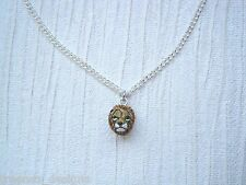 "SMALL 3D LION HEAD CERAMIC CHARM SP NECKLACE 18"" Chain Safari Animal BIG CAT"