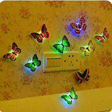 Colorful Changing Cute Butterfly LED Night Light Home Room Desk Wall Decor EF