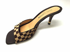 LOUIS VUITTON Brown/Beige Damier-Patterned Calf-Hair Heel Mules Sandals Sz40