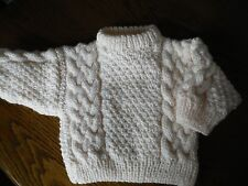 BABY ARAN  HAND KNITTED JUMPER FIT APPX 6-12 MONTHS  COLOUR NATURAL BOY-GIRL  67