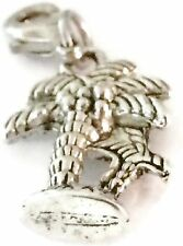 LOVELY SILVER  PALM TREES CLIP ON CHARM FOR BRACELET -TIBET SILVER-FREE P&P