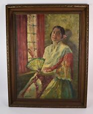 1920's Impressionist Painting of Mexican Woman William Hiller California