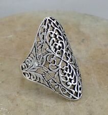 EXOTIC .925 STERLING SILVER WIDE FILIGREE SWIRL RING size 8  style# r2125