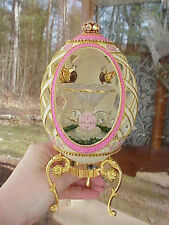 REAL Decorated Carved Rhea/Ostrich Egg Music Box Glass Bird Bath Collectible