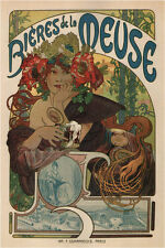BEERS OF THE MEUSE 1898 Alphonse Mucha Vintage Ad style poster print