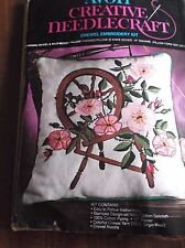 """VINTAGE CREWEL EMBROIDERY KIT SPINNING WHEEL & WILD ROSES PILLOW AVON 14"""" SQUARE"""