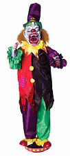 5' Animated Walking Clown Scary Circus Jester Moving Teeth Halloween Prop Decor