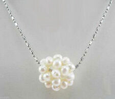 "Real Cluster White Freshwater Pearl Ball 18KGP Pendant Necklace 18""AAA"