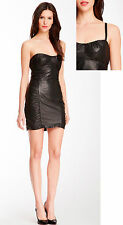 $898. Nanette Lepore Black Wild Child Ruched Leather Dress Size: 0