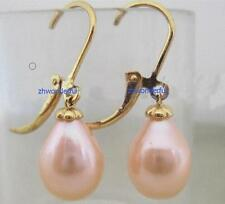 PERFECT A PAIR AAA ++ 12-10MM south sea pink pearl earrings 14K GOLD