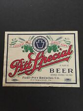 Vintage Fort Pitt Brewing Co Special Beer Label Pittsburgh PA