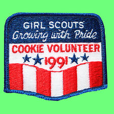 1991 COOKIE SALE Patch NEW Girl Scout GROWING w/ PRIDE for VOLUNTEER Multi=1 Shp