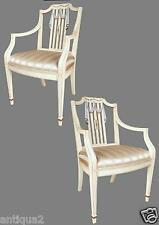 PAIR KINDEL HAND PAINTED ENGLISH ADAMS STY REGENCY ROCHELLE FAUTEUIL ARM CHAIRS