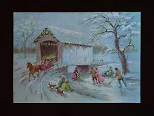 Vintage UNUSED Christmas Card GLITTER PEOPLE SKATING POND BRINGING HOME THE TREE