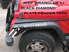 JEEP YJ black DIAMOND PLATE FULL TOP FENDER COVERS WITH BEND.     free shipping
