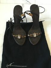 Giuseppe Zanotti Brown Heels Sandals Embellished Tie Up Size 8