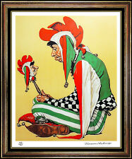 Norman Rockwell Jester Color Lithograph Hand Signed Original Illustration Art