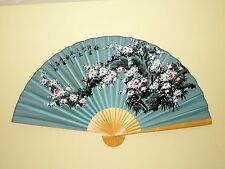 "NEW ORIENTAL BAMBOO BLUE WALL FAN WTH WHITE CHERRY BLOSSOM FLOWERS 60"" X 35"""