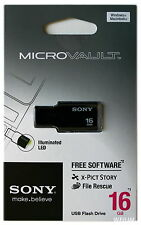 SONY USM16GM 16GB BLACK USB 2.0 Micro Vault Tiny USB Flash Drive Thumb KEY 16G