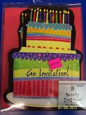Neon Cake Black General Adult Birthday Party Deluxe Invitations w/Envelopes