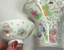 3pc BUTTERFLY - BUTTERFLIES: 2 Bone China Bowls & 1 Porcelain Brides Basket Vase
