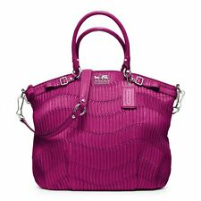 $598 NWT Coach Madison Gathered Leather Lindsey Satchel 18643 SV / Magenta Pink