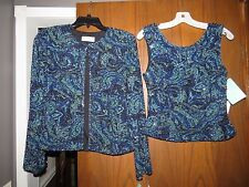 NWT Cecily Brown Nordstrom Blue Aqua Paisley Silk Fully Beaded Jacket Top Set S