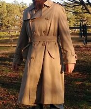Burberry Vintage Trench Coat Tan w/ Plaid Interior Button Down 42R Burberrys