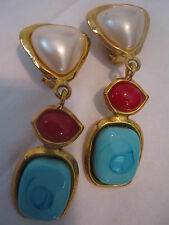 CHANEL CLIP ON EARRINGS   PEARL  RED TURQUOISE GRIPOIX STAMPED