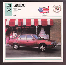 1981-1988 Cadillac Cimarron Car Photo Spec Sheet Info Stat ATLAS CARD
