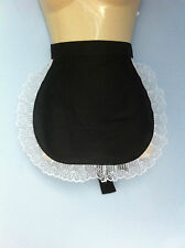 black pinny apron wide lace french maid sissy waitress adult baby catering 13x12